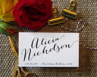 Custom Calligraphy Business Cards - 100 Digitally Printed Business Cards - Custom Business Cards, Custom Card, Calligraphy Card, Lettering
