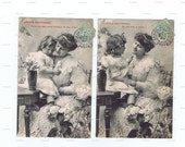 Antique,Postcards.TWO.retro.Paris.french.rare.scrap book.flower.original.home decor.mom.note.author.writer.cartes fantasie.vintage.crafting.