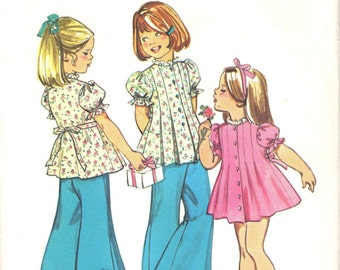 Simplicity 6052 Child's Dress or Top and Wide Leg Pants - PANTSUIT ala 1973