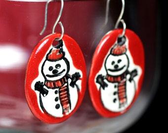 Snowman Ceramic Earrings in Red