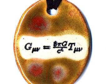 Einstein's General Relativity Equation Ceramic Necklace in Reddish Brown