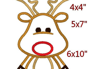 Reindeer M2M fabric Christmas Applique  Design Embroidery Pattern 4x4 5x7 6x10 INSTANT DOWNLOAD