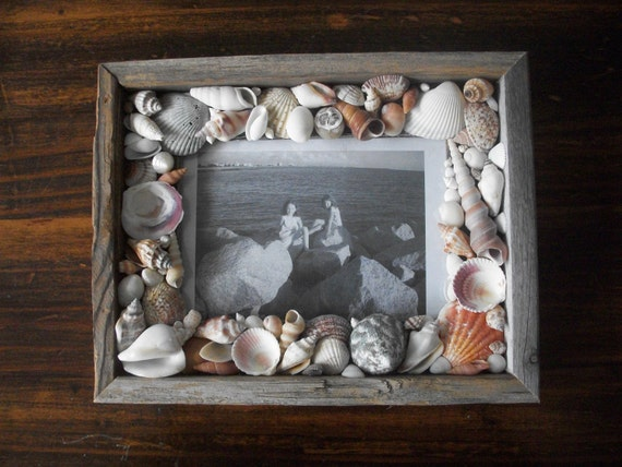 Reclaimed Wood Seashell Encrusted Picture Frame / Coastal Cottage ...