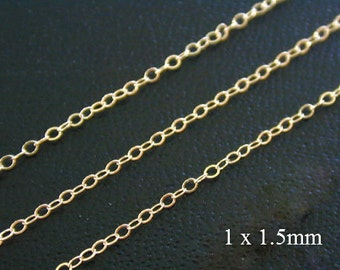 100 ft - 14k Gold Filled Delicate Cable Chain, 1 x 1.5mm