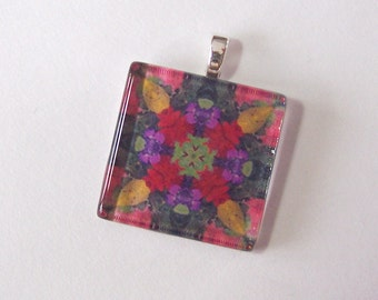 Glass Tile Pendant Necklace -  Kaleidoscope No. T-19