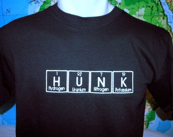 HUNK T-shirt Embroidered in Periodic Table Letters Short Sleeve T   Made to Order