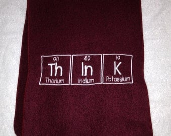 ThInK Scarf Chemistry Symbol Science Geek is COOL Fleece Embroidered Maroon - Ready to Ship