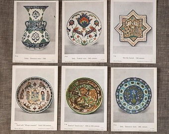 Vintage Unused British Museum Postcards of Turkish Pottery from the 10th century to the 16th century