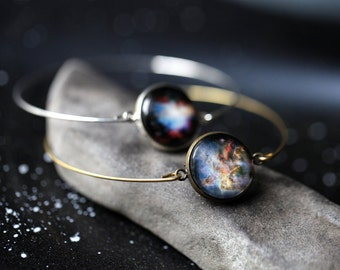 Galaxy Bracelet -  Universe Jewelry - Petite Solar System Planet Bracelet, Nebula Cuff, Space Bangle - Bridesmaid Gift, Bronze or Silver
