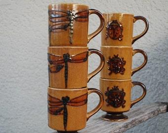 Vintage Mid Century Modern Stoneware Mugs (6) Dragonfly and Ladybug