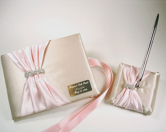Champagne and Pink Wedding Guest Book and Pen Set with Rhinestones and Personalized Engraving