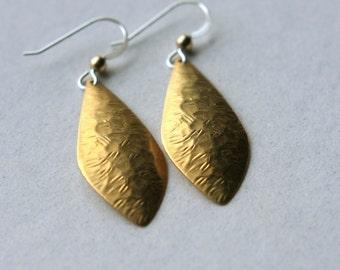 Brass Teardrop Earrings, Stocking Stuffer, Brass Charm Earrings, Mixed Metal Jewelry, Long Dangle Earrings, Drop Earrings, Under 25
