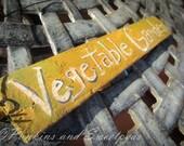 Hand Painted Primitive Rustic Garden Sign,Vegetable Garden, Mustard Yellow Shutter Sign