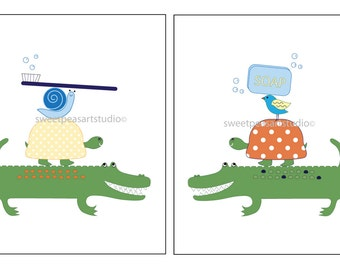 Alligator Art for Kids Bathroom Room Decor, Alligator Bath Wall Decor