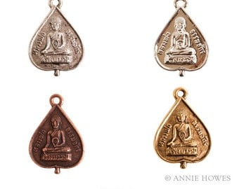 Buddha Charm in Shiny Silver, Antique Silver, Antique Gold, or Antique Copper. Buddha. Sold as single.
