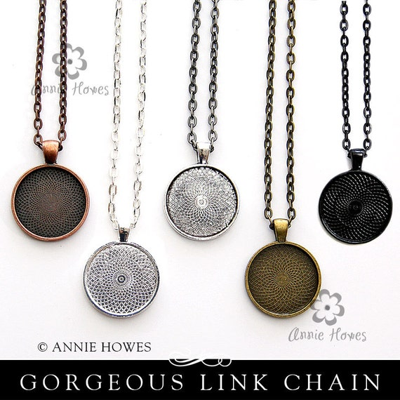 25 Colored Chains with Lobster Clasp. Available in Black, Vintage Copper, Vintage Gold, and Silver.
