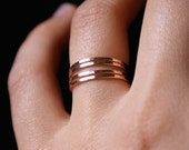 Rose Gold stacking rings, set of 4, rose gold stack ring set, rose gold ring stack, hammered rose gold rings, delicate pink gold rings