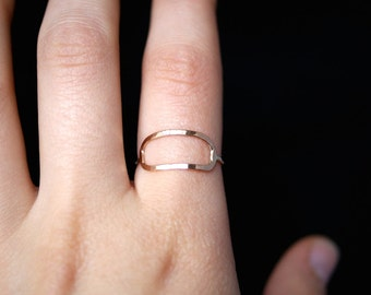 Elongated Gold Infinity ring, gold open circle ring, 14k gold fill infinity ring, 14k gold fill circle ring, hammered gold circle ring