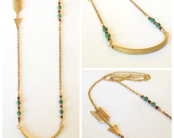 Golden Warrior Necklace, metalwork, beading, long statement necklace