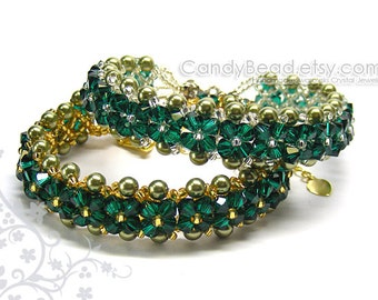 Swarovski Crystal Bracelet ,Emerald Green Bracelet by CandyBead - You Choose Color