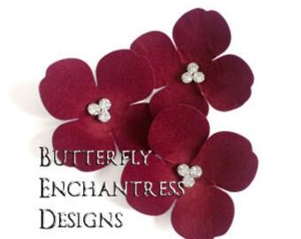 Valentine Wedding, Bridal Hair Accessories, Hair Flowers - 3 Dark Red Aurora Hydrangea Bobby Hair Pins