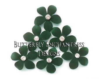 Rustic Woodland Wedding, Hair Accessories, Bridal Hair Flowers, Bridesmaid Gift - 6 Dk Green Harper Jasmine Flower Hair Pins - Rhinestone
