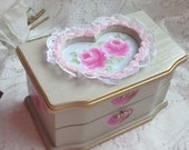 JEWELRY Box Shabby Chic Hand Painted Pink Roses ECT SVFTeam sct schteam