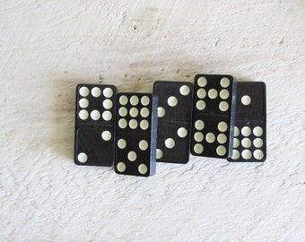5 Magnets Made With Vintage Dominoes