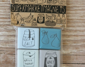 Supermarketmagnets - blue/grey tones - set 1