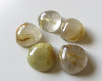 Golden Rutilated Quartz - Lot of Five Teardrops Cabs, 30.10 cts