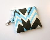 Mini Zippered Pouch in Amy Butler's Ritzy Stripe- Great for headphones, blue tooth, or flash drive