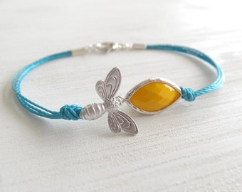 Queen Bee Jewelry Bracelet - Honeycomb Bracelet - Silver Plated - Yellow Faceted - Teal Cord - Bee Species - Gift for Her - Under 25