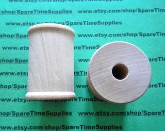 """SP9000WW6  Wood Spools  - 2-1/8"""" tall x 1-1/2"""" wide w/ 3/8"""" hole - 6 pcs"""