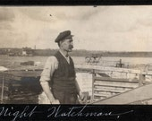 Vintage photo The Night WATchman by the Docks Along River Minneapolis