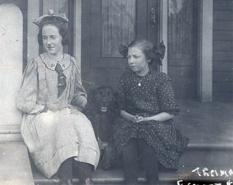 Vintage Photo 2 Girls Sit on Porch w Black Dog Everett WAshington