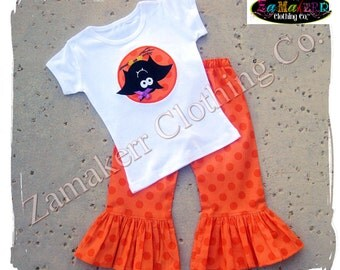 Custom Boutique Clothing Girl Halloween Outfit Bat Pageant Gift Tshirt Tee Costume Pant Set 3 6 9 12 18 24 month size 2T 3T 4T 5T 6 7 8