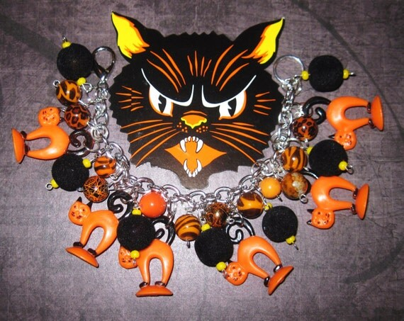 Halloween Cat Jewelry Charm Bracelet OOAK Handmade Eclectic Vintage Folk Art Style Retro Prim Kitsch Orange Black Holiday Statement Piece