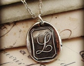 Letter L Wax Seal Initial Necklace in eco friendly silver