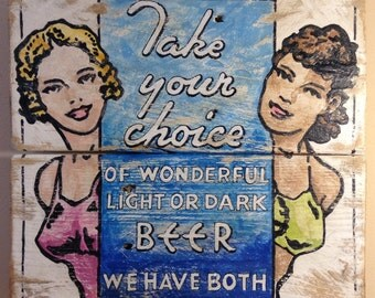 Strictly for Men, Old advertising art, Vintage-looking, pallet wood sign, hand made, hand painted, man cave