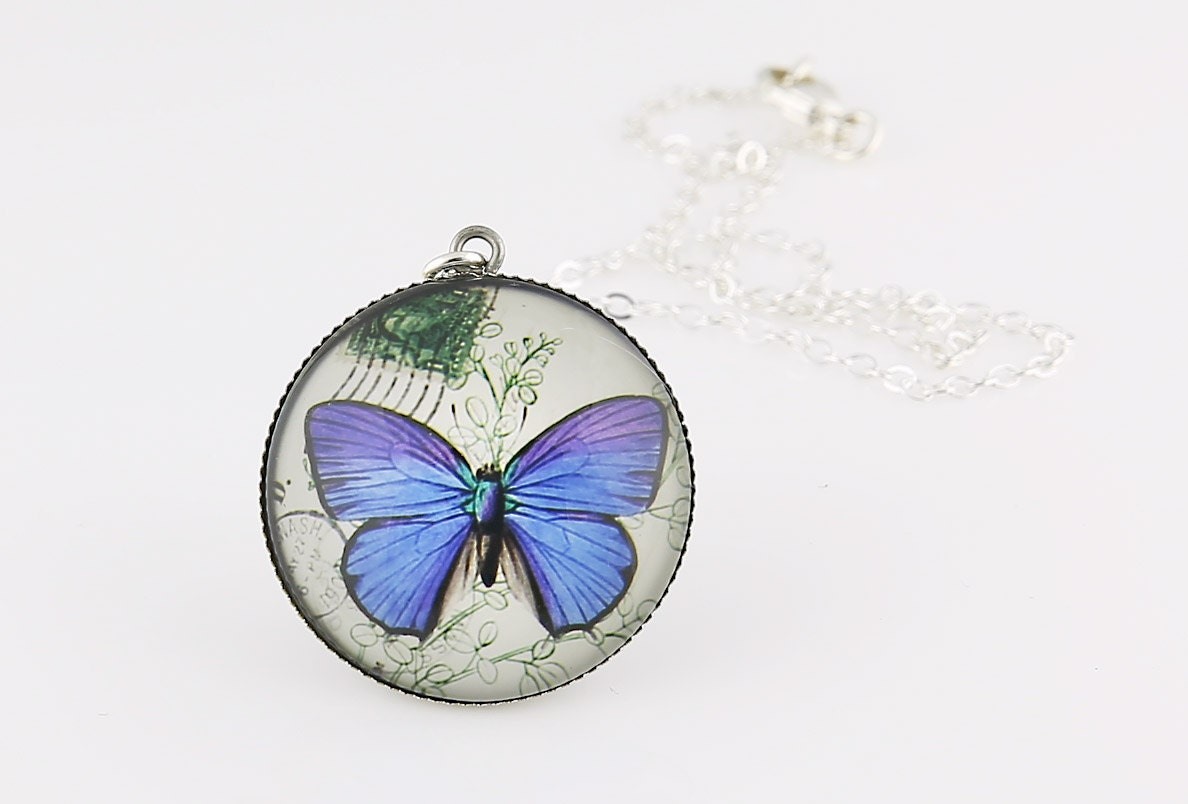 Blue Butterfly Jewelry: Blue Butterfly Necklace Fine Art Print Picture Jewelry