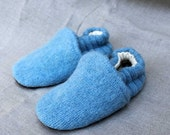 Blue Wool Slippers Kids  made from recycled materials Size 18-24 Months old
