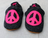 Peace Kids Slippers Leather Bottom fits 3-4 years old made from recycled materials