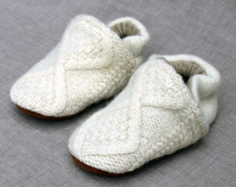 Ivory Fisherman Wool Slippers Kids Size 12-18 months old made from recycled materials