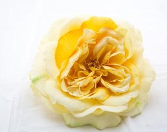 Large Light Yellow Sophia Rose - Artificial Flower, Silk Flower Heads - ITEM 034