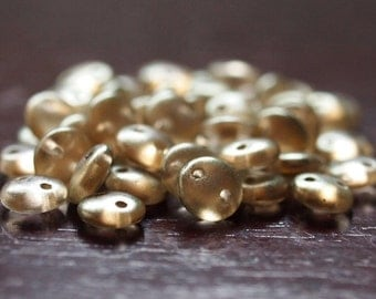 CzechMates Lentil Halo Linen Czech Glass Two Hole 6mm Bead : 50 pc