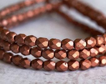 Matte Metallic Copper Czech Glass Bead 4mm Faceted Round : 50 pc
