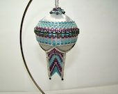 Beaded Ornament Aquamarine and Pink with Silver
