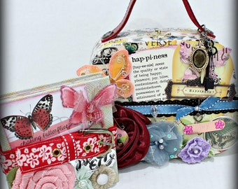 HAPPINESS Purse Shaped Hinged Wood Box Holder with Multi Page Accordion Scrapbook Scrapbooking  Album Journal Inside