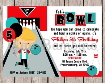 PRINTABLE, Personalized / BOY Bowling Birthday Party Invitation / Red, Black and Teal / Choose Your Hair Color / You Print