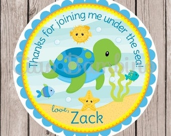 Under the Sea Birthday Party Favor Tags or Stickers / Sea Turtle Favor Tags / Set of 12 - 0023